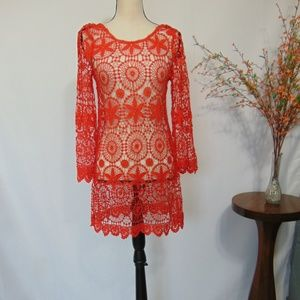 H & M Coachella Orange Swim Bathing suit Cover Up